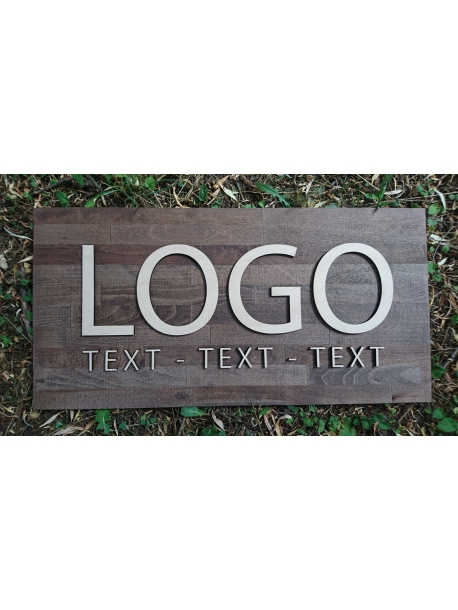 Vaše logo na podkladní desce tmavé 80 x 40 cm