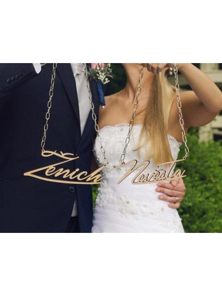 Řetěz na krk ženich a nevěsta (rozlučky se svobodou, svatby)