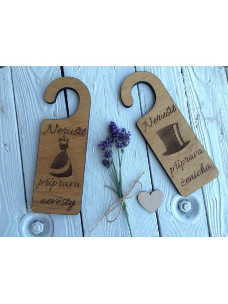 A set of wedding door signs