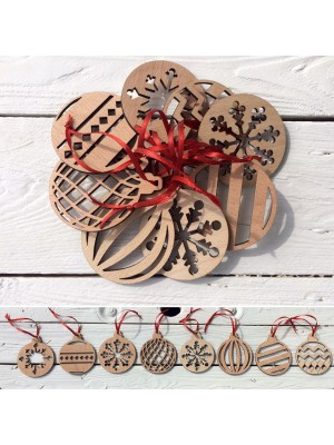 Set of wooden Christmas ornaments
