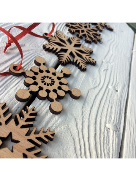 Set of wooden snowflakes