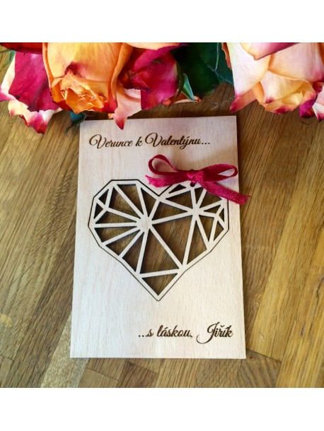 Wooden Valentine´s card with dedication