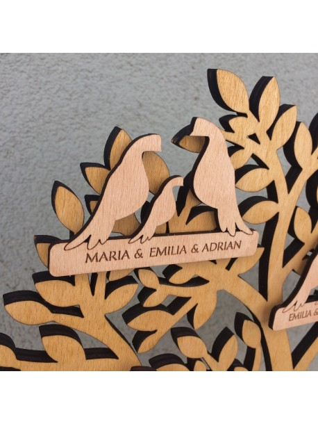 Wooden family tree - doves