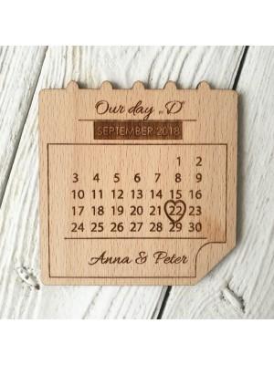 Aimants de mariage en bois - calendrier