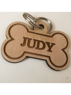 Wooden dog tag