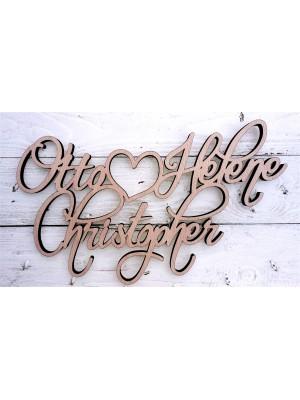 Drei Namen maßgeschneidert (für Hochzeiten, Feiern,...)