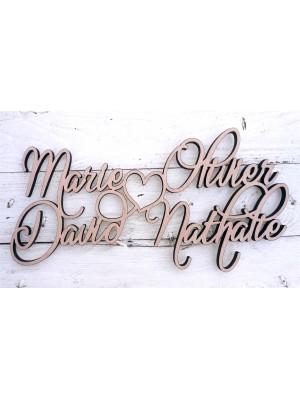 Quatre noms sur mesure ( les pendaisons de crémaillère, les mariages, les fêtes ),….  Écrivez-nous vos noms.
