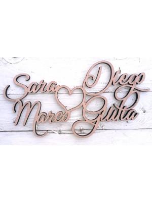 Scritto da quattro nomi personalizzabili (inaugurazioni, matrimoni, feste…)