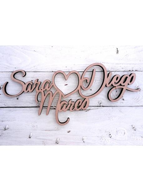 Scritto da tre nomi personalizzabili (inaugurazioni, matrimoni, feste…)