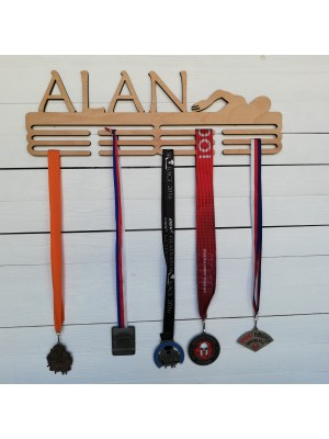 Wooden medals hanger with own name